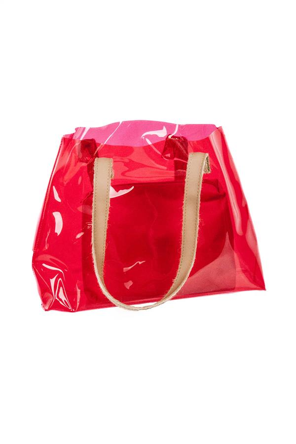 Transparent Beach Bag Red