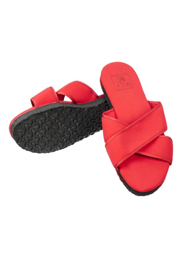 Cross Detail Slippers Red